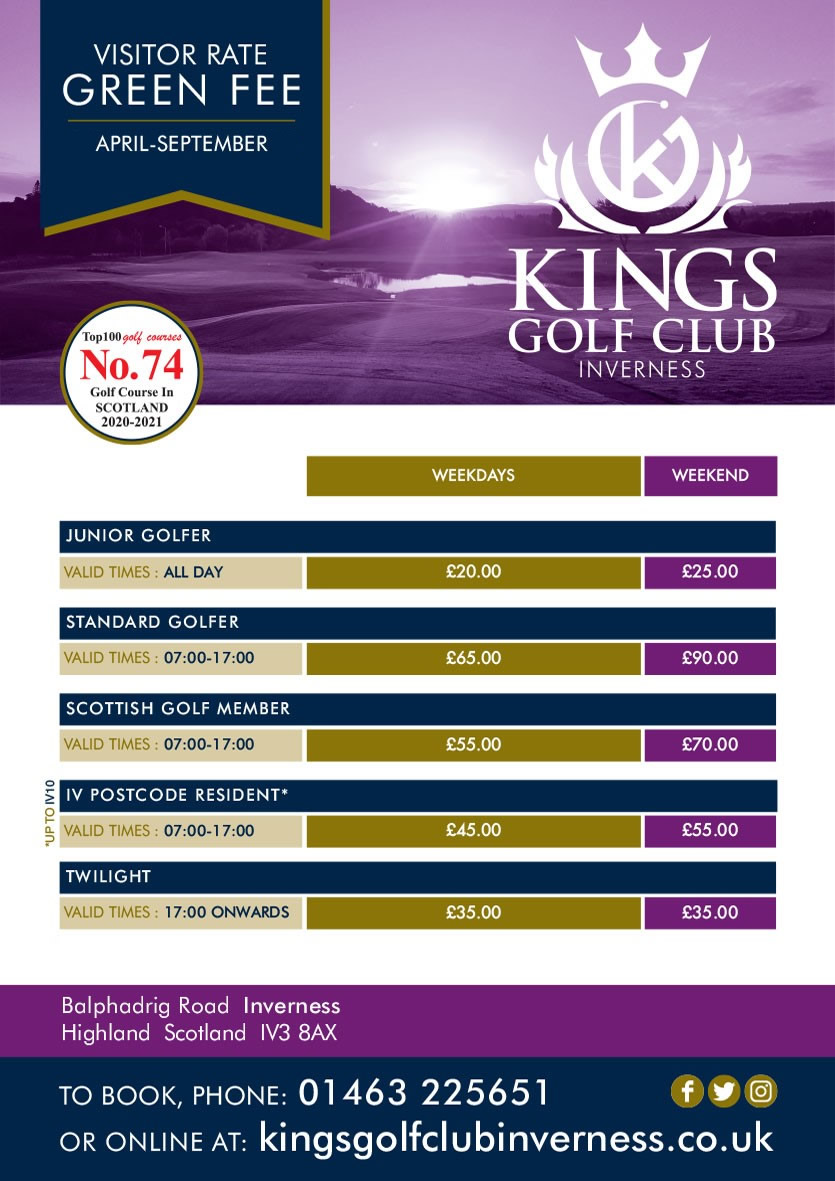 Kings Golf Club Inverness Green Fees
