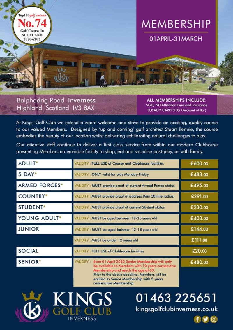 Kings Golf Club Inverness Membership Fees