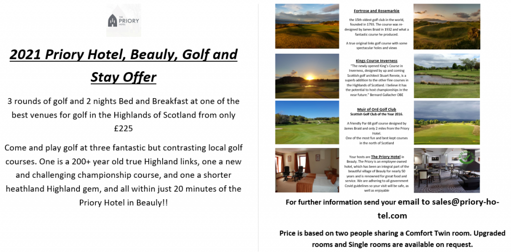 Kings Golf Club, Inverness Stay & Play Offer with Priory Hotel, Beauly